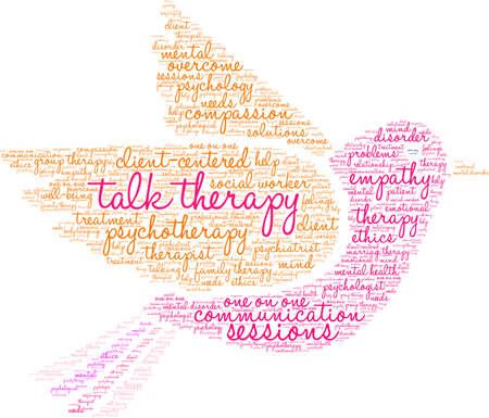 Spreek de woordwolk van de Therapie op een witte achtergrond.