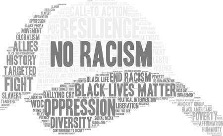 Nenhuma nuvem da palavra do racismo em um fundo branco. Foto de archivo - 93814713