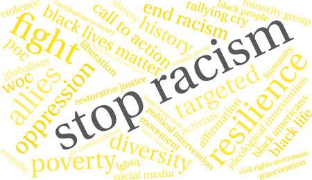 Fermi la nuvola di parola di razzismo su una priorità bassa bianca. Archivio Fotografico - 93814267