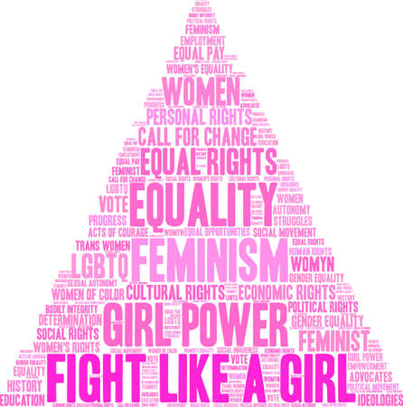 Fight like a girl word cloud on a white background. Illustration