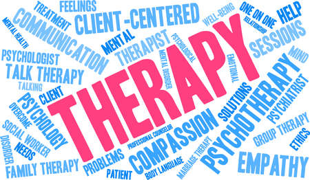Therapy word cloud within a rectangular shape. Illustration