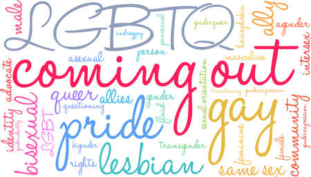 Coming out word cloud formed within a rectangular shape. Illustration