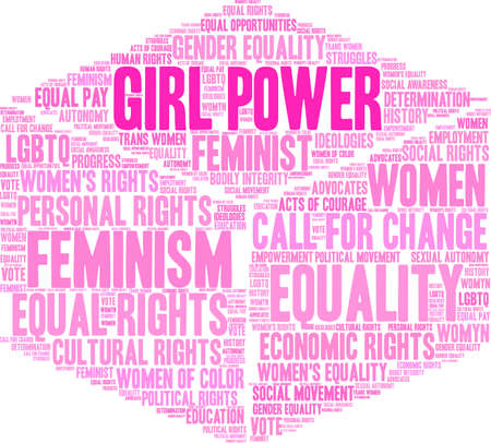 Girl power word cloud within a 3d cube.