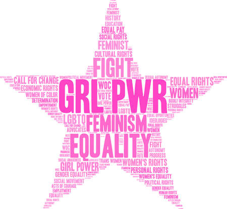 GRL PWR word cloud within a star shape.