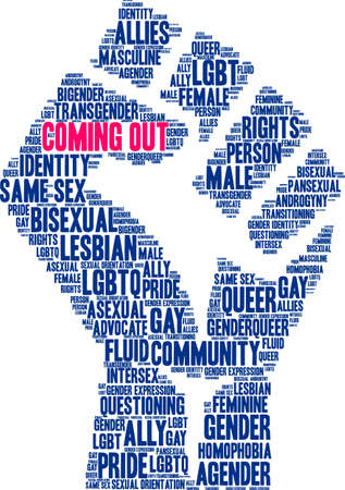 Coming out word cloud within a fist like shape.