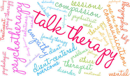 Talk therapy word cloud within a colorful rectangular shape.