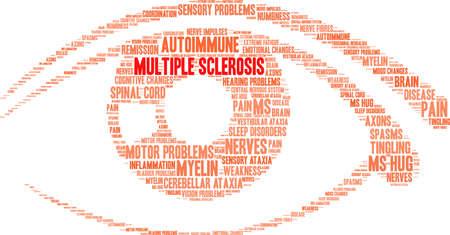 Multiple sclerose word cloud in een oog.