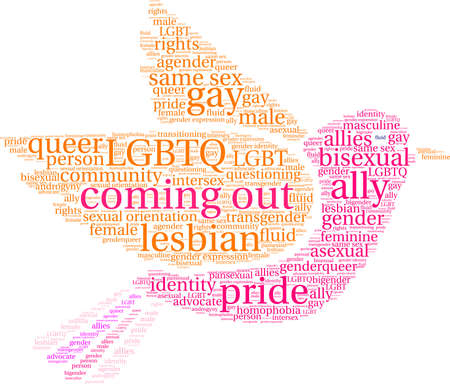 Coming out word cloud within a bird.