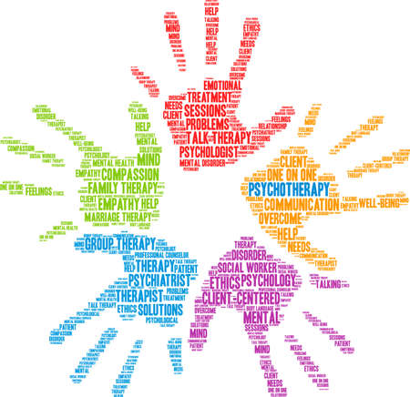 Psychotherapy word cloud within one of the colorful hand prints. Ilustrace