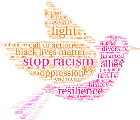 Stop racism word cloud within a bird.