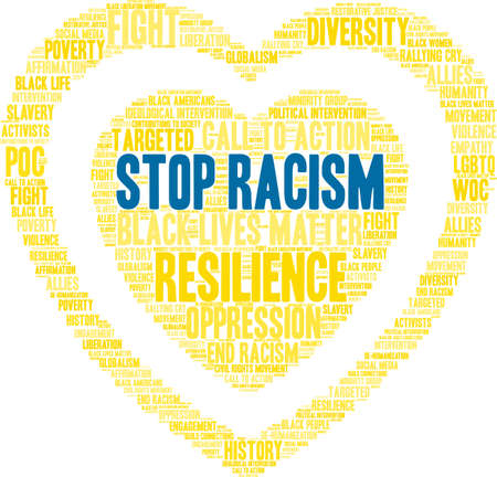 Stop racism word cloud within a yellow heart shape. Illustration