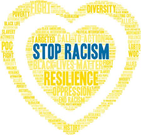 Stop racisme word cloud in een gele hartvorm.