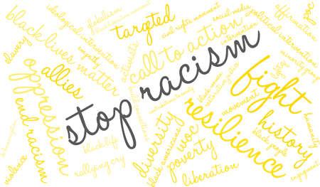 Stop racism word cloud on a white background. Ilustração