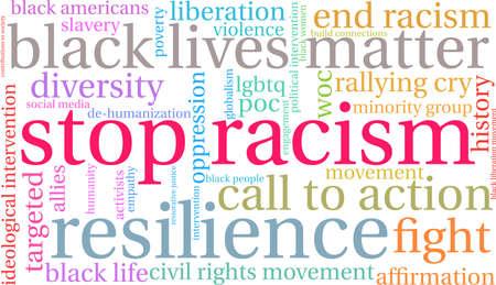 Fermi la nuvola di parola di razzismo su una priorità bassa bianca. Archivio Fotografico - 93815033