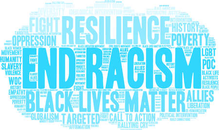 End Racism word cloud on a white background.