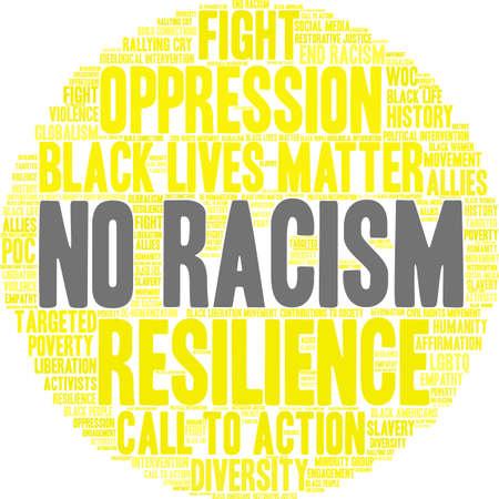 Nenhuma nuvem da palavra do racismo em um fundo branco. Foto de archivo - 93815198