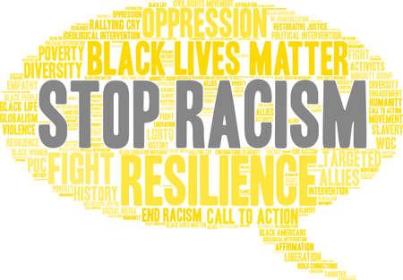 Fermi la nuvola di parola di razzismo su una priorità bassa bianca. Archivio Fotografico - 93815214