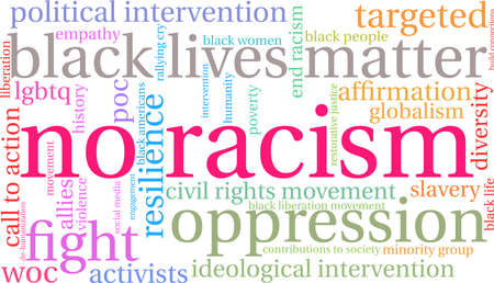 No Racism word cloud on a white background. Imagens - 93815286