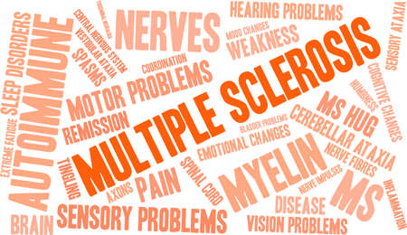 Multiple Sclerosis word cloud on a white background.  Vectores