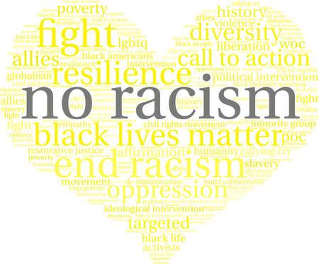 Nenhuma nuvem da palavra do racismo em um fundo branco. Foto de archivo - 93815421