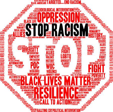 Fermi la nuvola di parola di razzismo su una priorità bassa bianca. Archivio Fotografico - 93815430