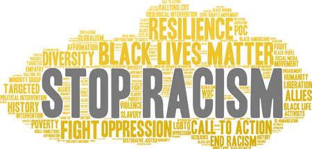 Fermi la nuvola di parola di razzismo su una priorità bassa bianca. Archivio Fotografico - 93814773
