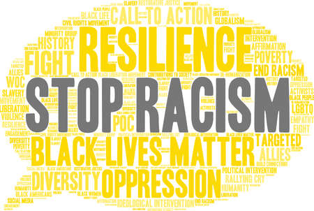 Fermi la nuvola di parola di razzismo su una priorità bassa bianca. Archivio Fotografico - 93815439