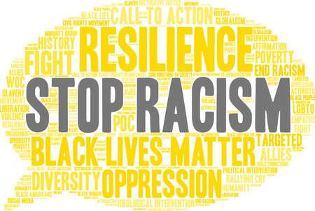 Pare a nuvem da palavra do racismo em um fundo branco. Foto de archivo - 93815439