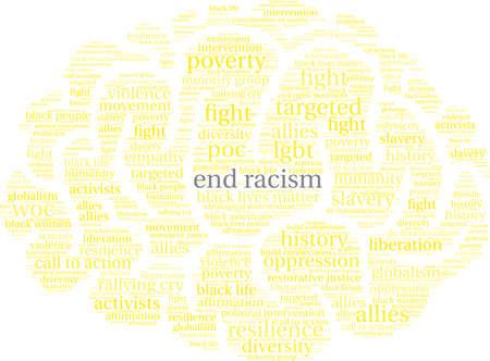 Termine a nuvem da palavra do racismo em um fundo branco.