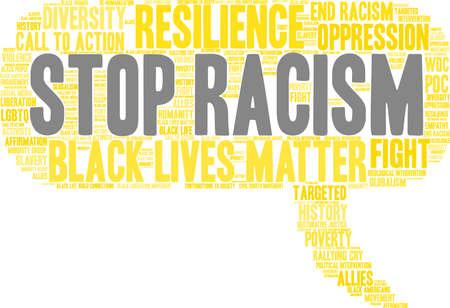 Fermi la nuvola di parola di razzismo su una priorità bassa bianca. Archivio Fotografico - 93815514