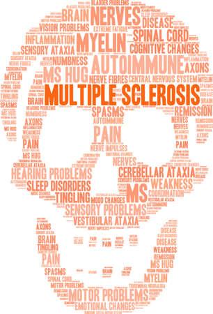 Multiple Sclerosis word cloud on a white background.  Ilustração