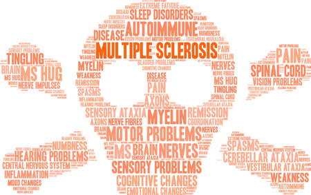 Multiple Sclerosis word cloud on a white background.  Illusztráció