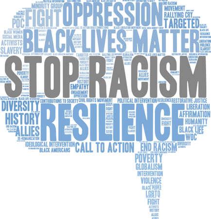 Fermi la nuvola di parola di razzismo su una priorità bassa bianca. Archivio Fotografico - 93814498