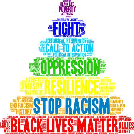 Fermi la nuvola di parola di razzismo su una priorità bassa bianca. Archivio Fotografico - 93815530