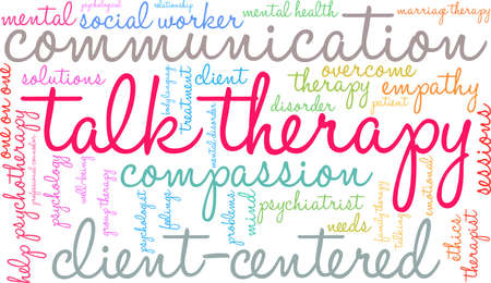 Talk Therapy word cloud on a white background. Stok Fotoğraf - 93814992
