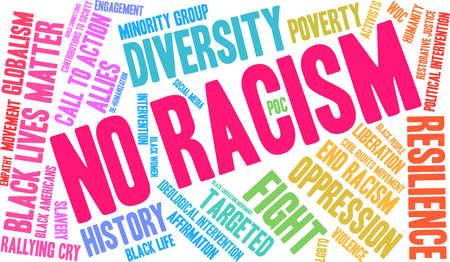 白い背景に人種差別の言葉雲はありません。
