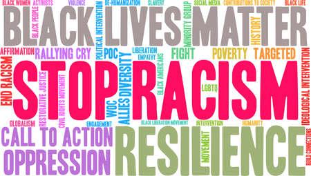 Fermi la nuvola di parola di razzismo su una priorità bassa bianca. Archivio Fotografico - 93815621