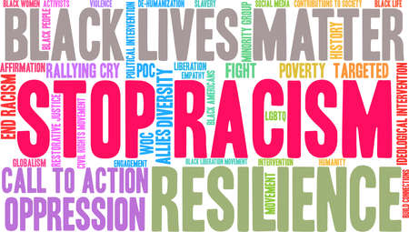 Stop Racism word cloud on a white background. Imagens - 93815621