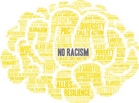 Nessuna nuvola di parole razzismo su uno sfondo bianco. Archivio Fotografico - 93815633
