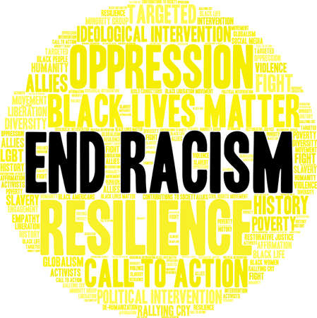 End Racism word cloud on a white background. Imagens - 93815684