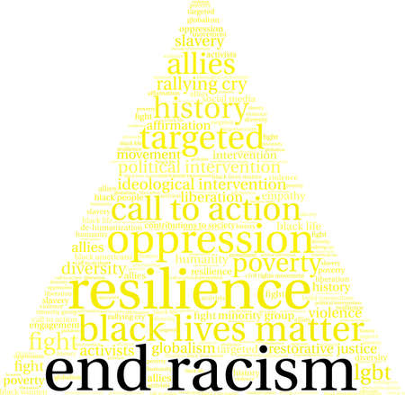 End racism word cloud on a white background. Ilustração