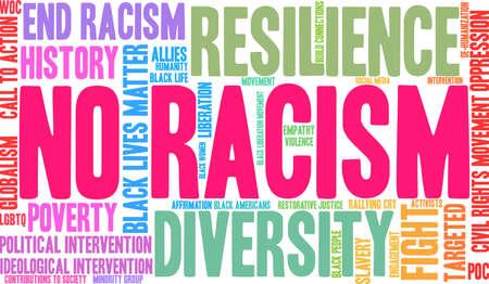 Nenhuma nuvem da palavra do racismo em um fundo branco. Foto de archivo - 93815691