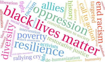 Black Lives Matter woordwolk op een witte achtergrond.