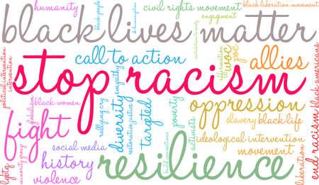 白い背景に人種差別ワードクラウドを停止します。