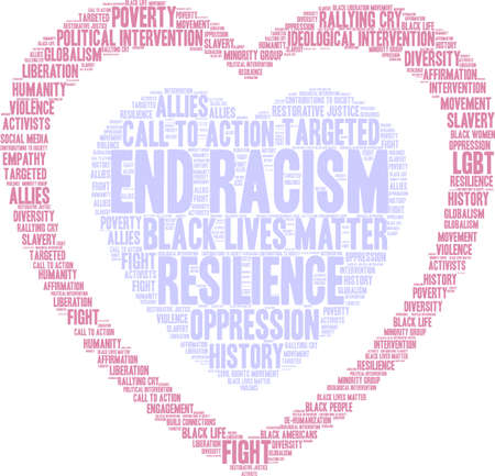 End Racism word cloud on a white background. Imagens - 93815462