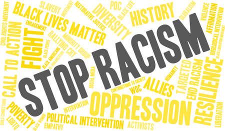 Fermi la nuvola di parola di razzismo su una priorità bassa bianca. Archivio Fotografico - 93815470