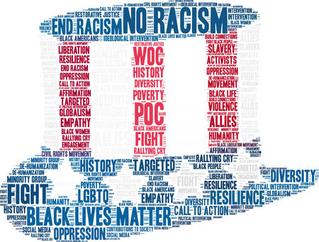 Geen racisme word cloud op een witte achtergrond.