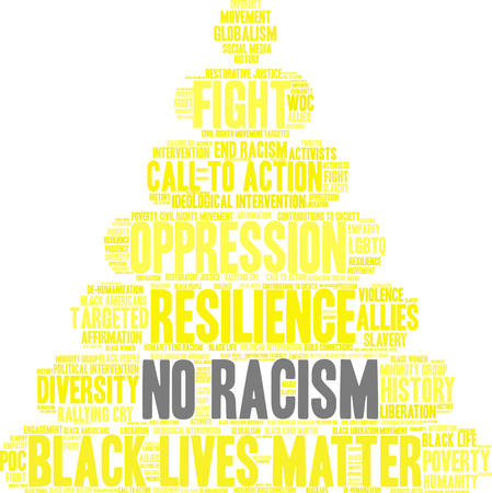 Nenhuma nuvem da palavra do racismo em um fundo branco. Foto de archivo - 93815497