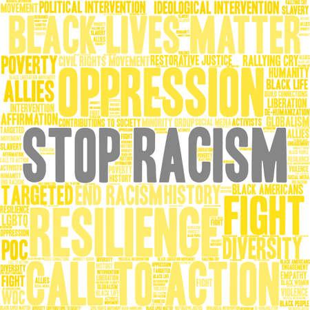 Fermi la nuvola di parola di razzismo su una priorità bassa bianca. Archivio Fotografico - 93815546