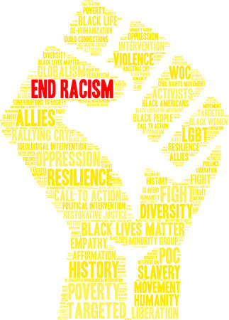 End racism word cloud within a yellow fist. Illustration